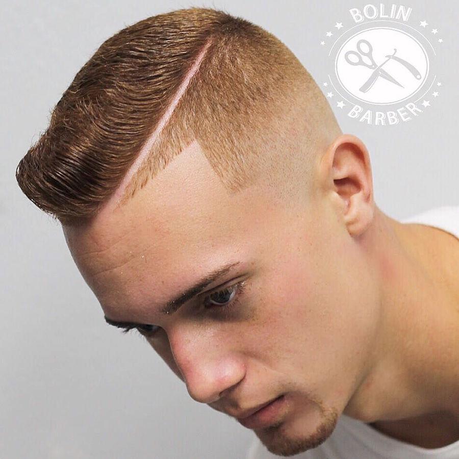 Bolinbarberand Short Mens Haircut Hard Part High Fade